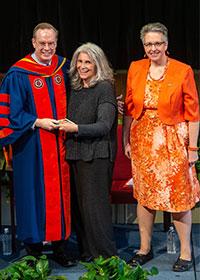 Chancellor Kent Syverud, Marlene Blumin, and Dean Joanna Masingila at the One University Award Ceremony