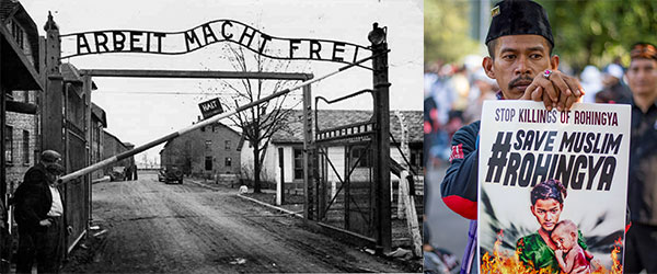 A concentration camp during world war two, and a recent protestor holding a sign that says save muslim rohingya