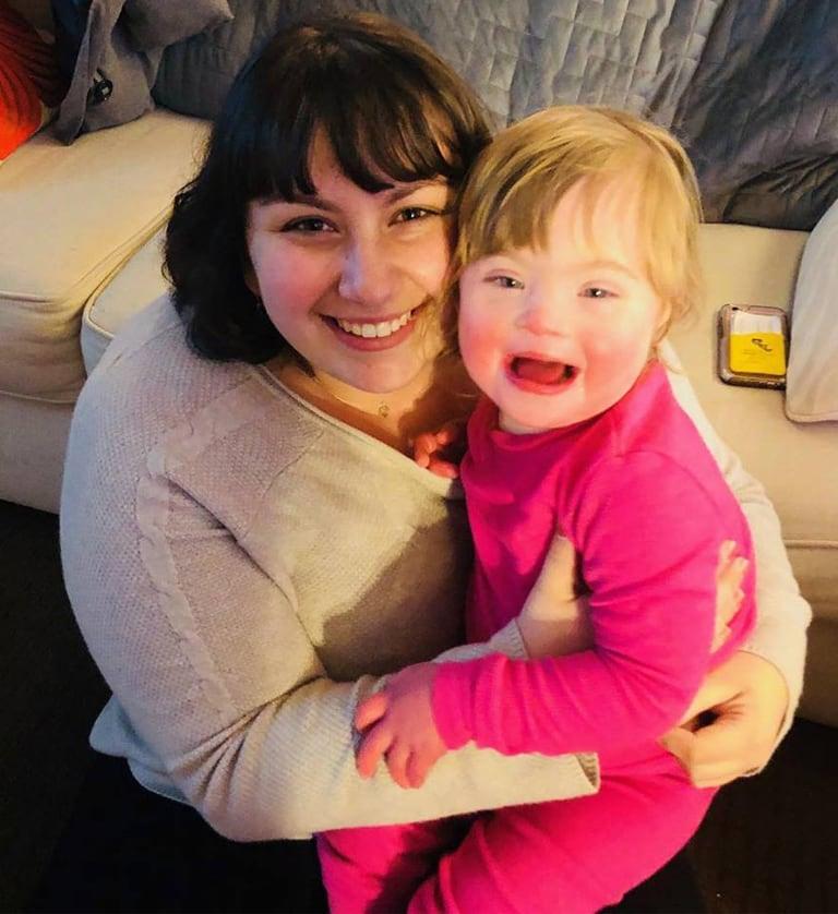 Sara Jo Soldovieri with a student