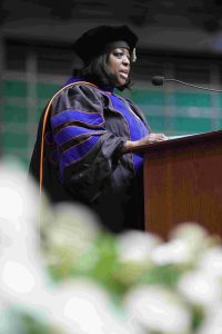 Cerri Banks addresses graduates at convocation
