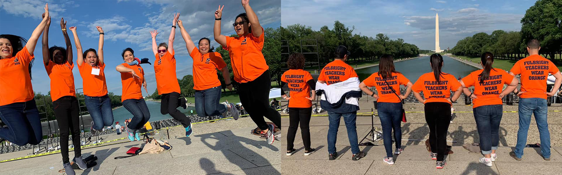 Fulbright DAI teachers on the National Mall in Washington DC in 'Fulbright Teachers Wear Orange' shirts