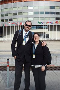 Brent Elder and Michelle Damiani outside of the UN