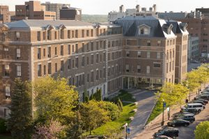 Aerial view of Huntington Hall