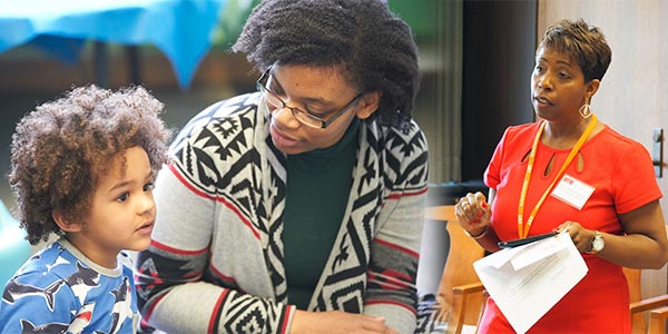 An S O E student and preschooler in a classroom; Debra presents at C B T weekend