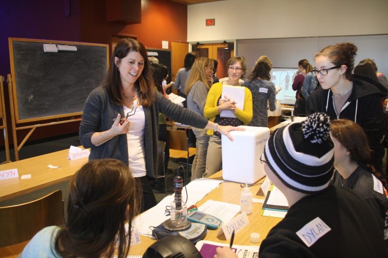 Sharon Dotger leads students in a science lesson study
