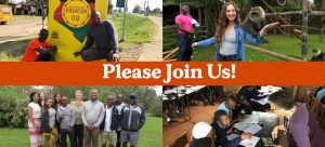 Please Join Us text over collage of students and faculty in Kenya
