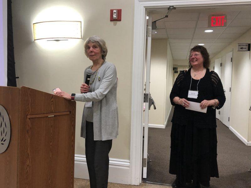 Carol Decker accepts the 2019 CNY book awards peoples choice award