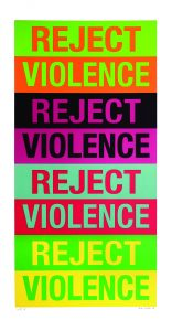 Reject Violence artwork, repeated 4 times on different bright and bold colors