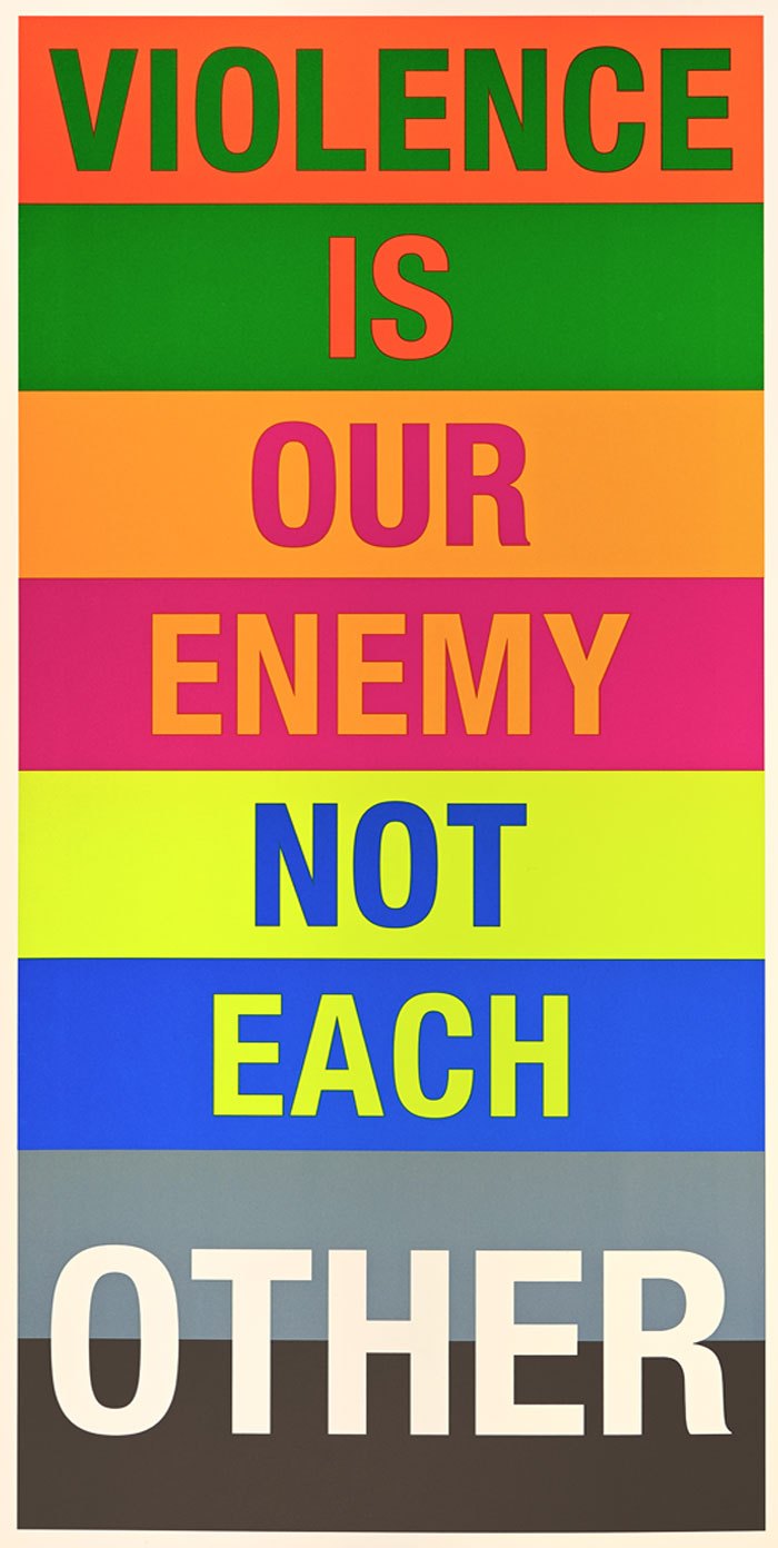 Violence is our enemy not each other artwork, with each letter on a different color background