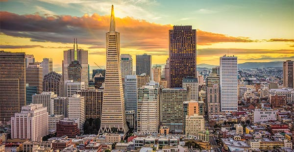 San Francisco Financial District skyline at sunset