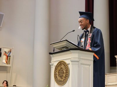 SSS student Manny Zapata '18 speaks at the Center for Academic Achievement and Student Development Baccalaureate ceremony in 2018.