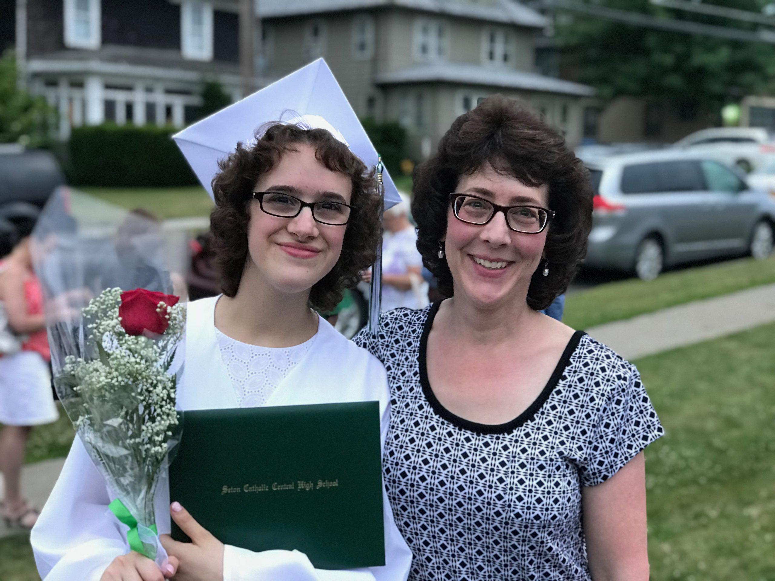 Seybold and her daughter Lauren at Lauren's high school graduation in 2018