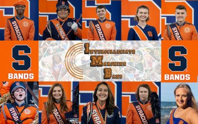 headshots of ten syracuse marching band members joining the intercollegiate marching band performance