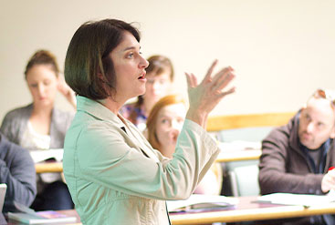 professor presenting in class