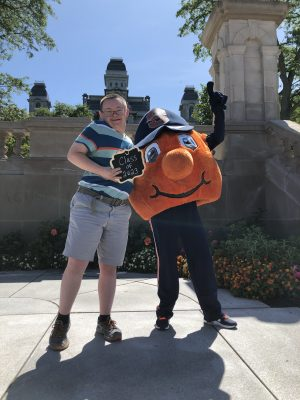 InclusiveU student with Otto the Orange