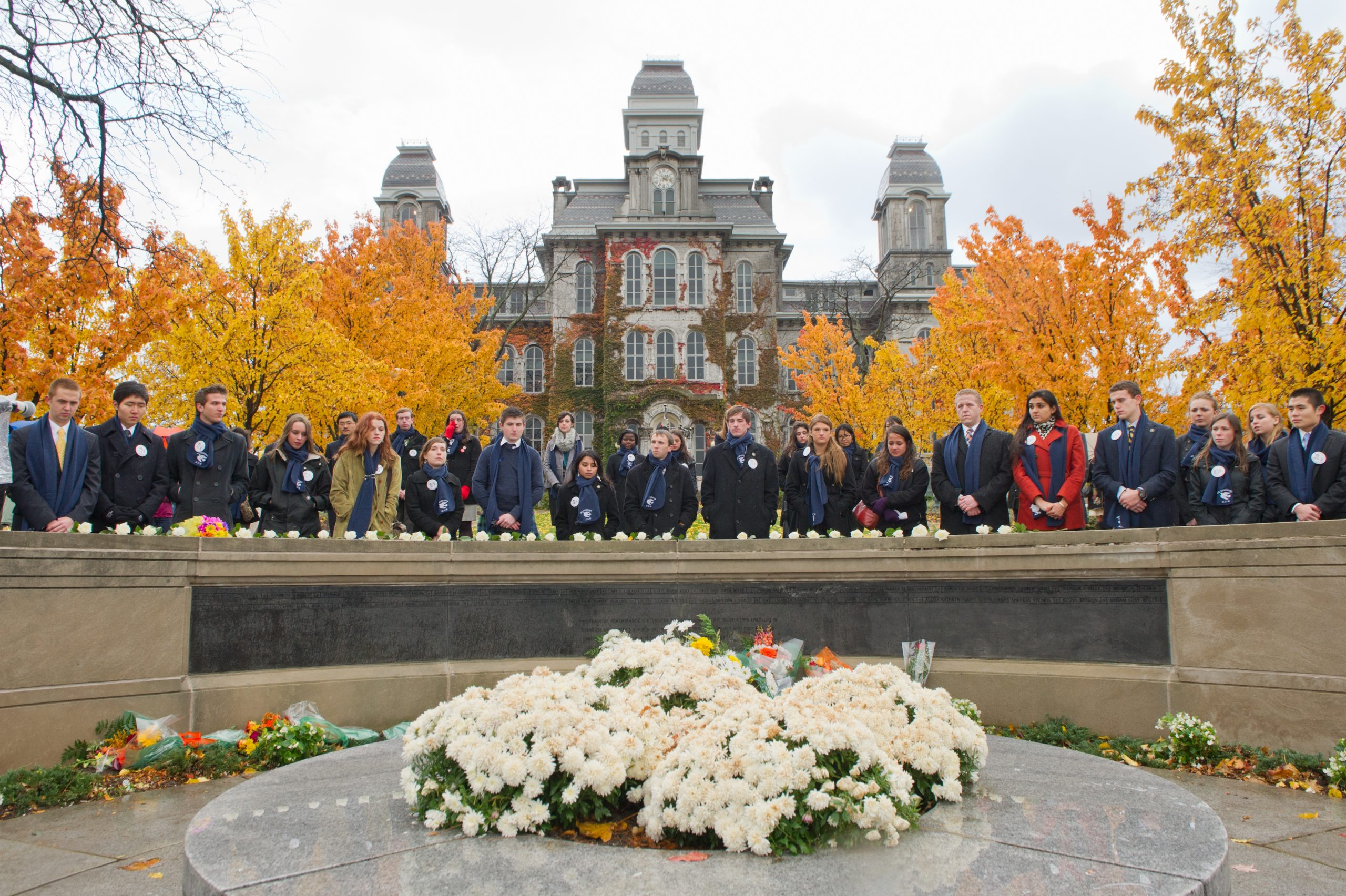 remembrance scholars at the rose laying ceremony