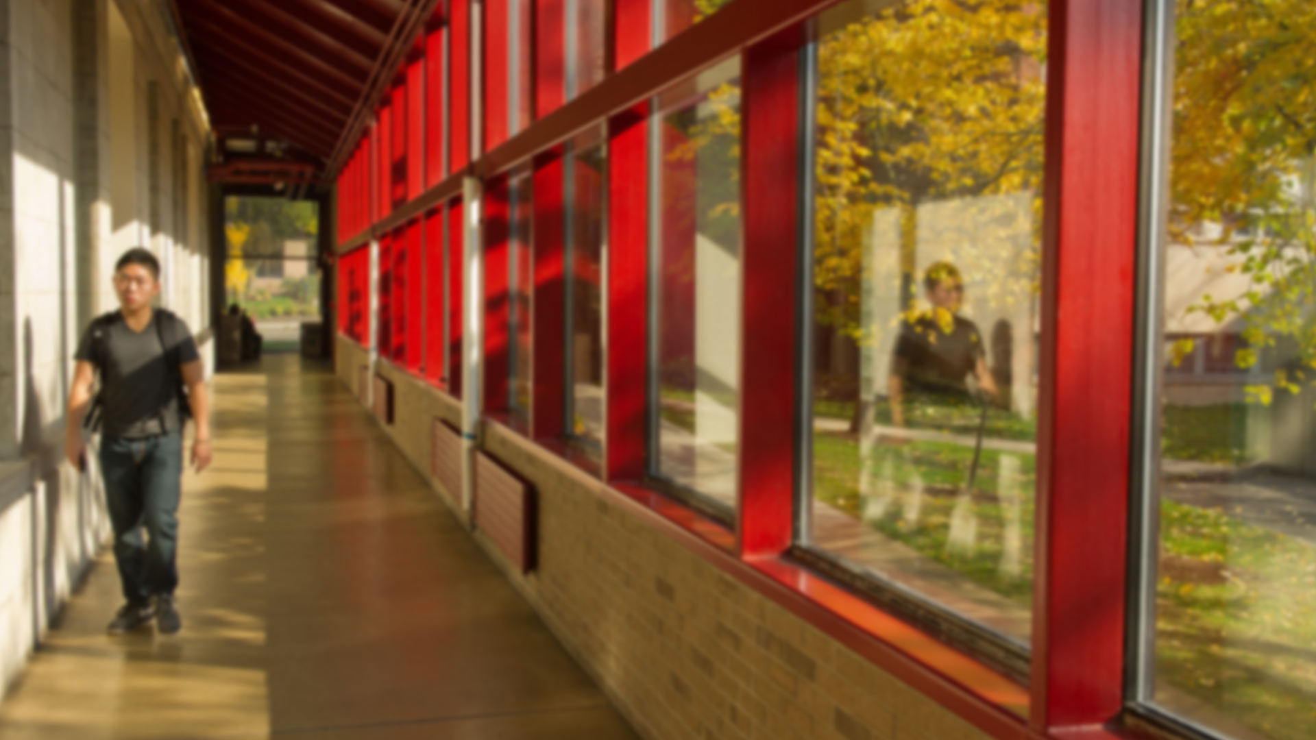 interior red and glass hallway in huntington hall