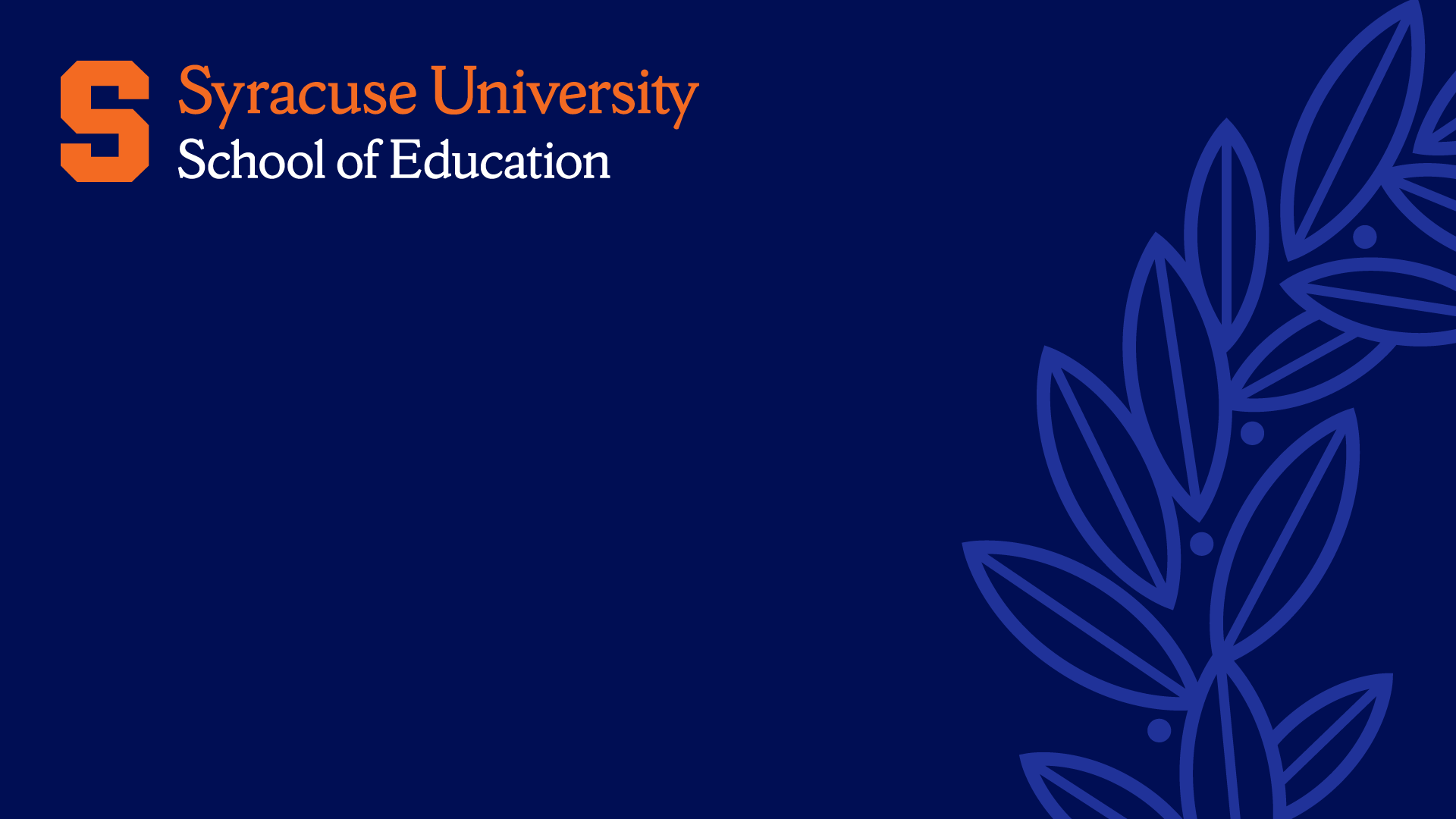 school of education logo and syracuse laurel branch on a blue background