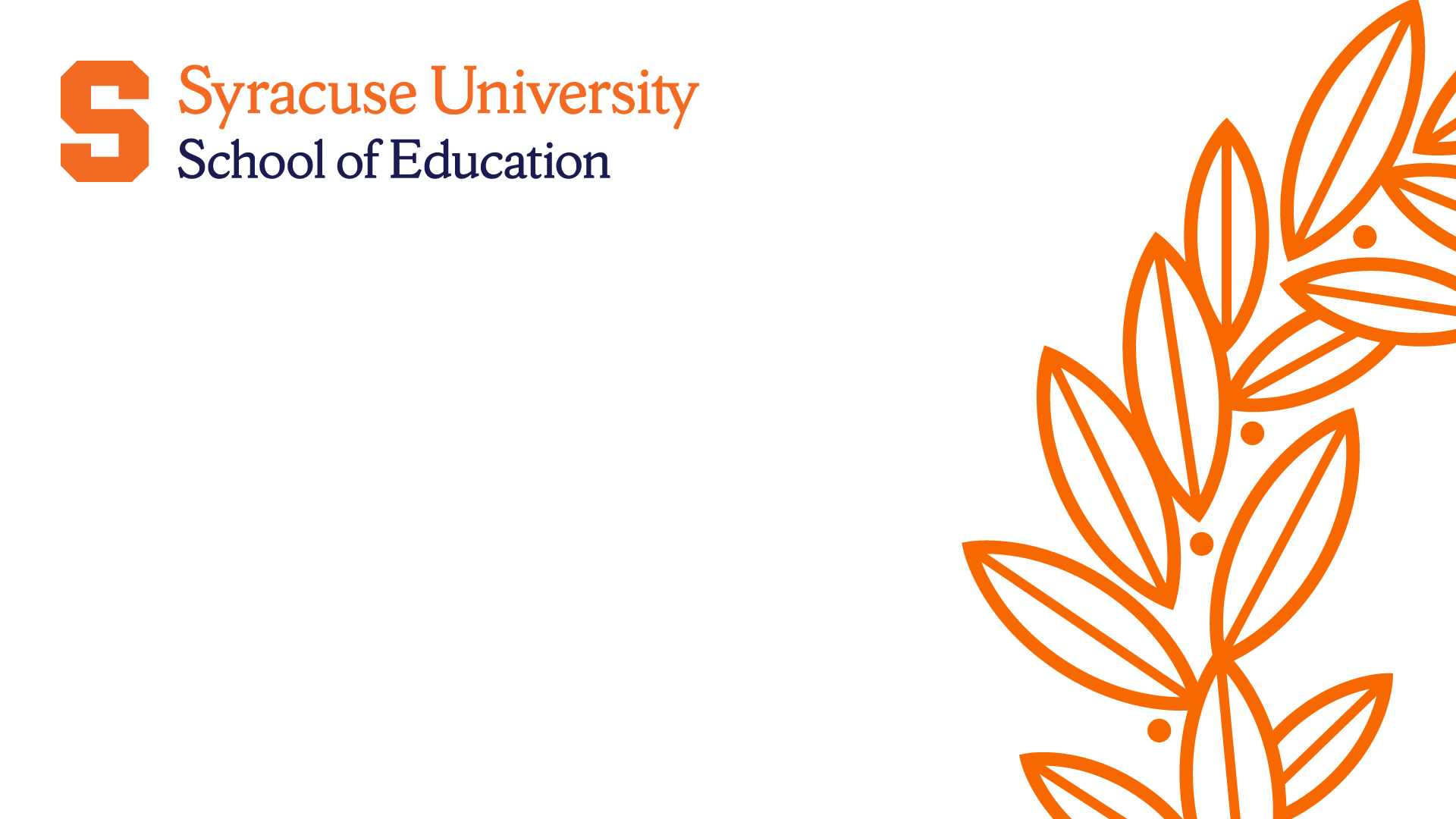 school of education logo and syracuse laurel branch on a white background