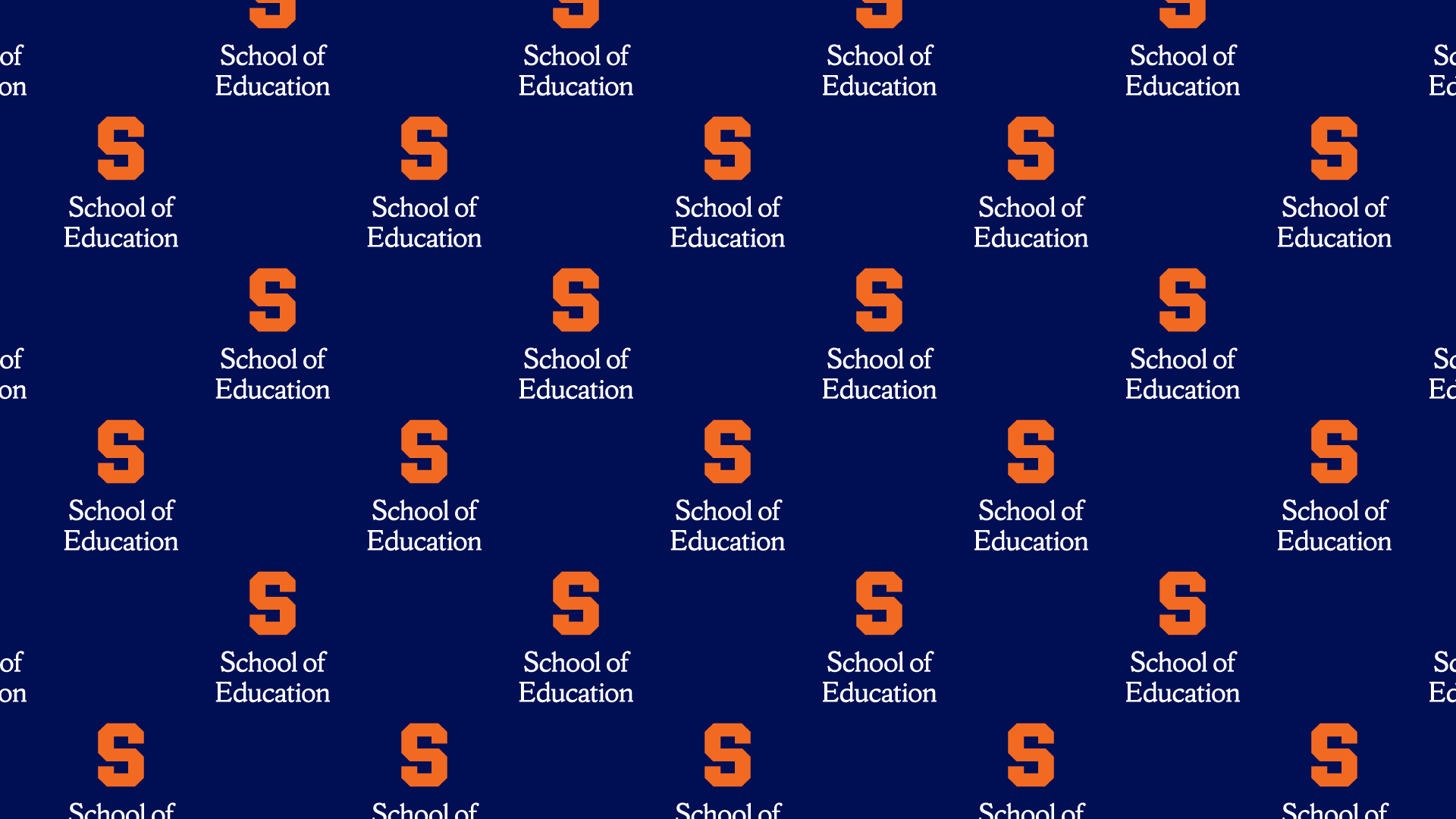 repeated school of education logo on a blue background